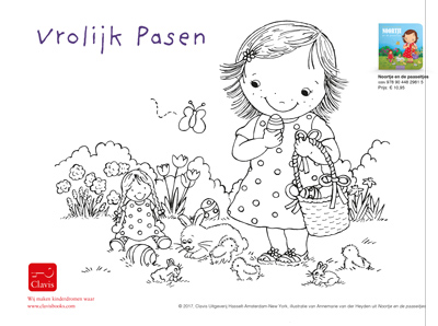 colouring picture Noortje and the eastereggs