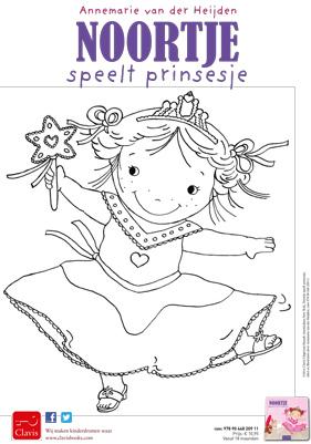 kleurplaat Noortje speelt prinsesje