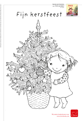 colouring picture Noortje celebrates Christmas